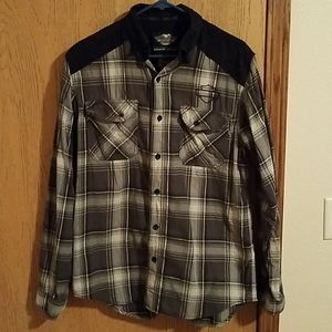 Harley Davidson Mens Med Plaid Button Down Shirt